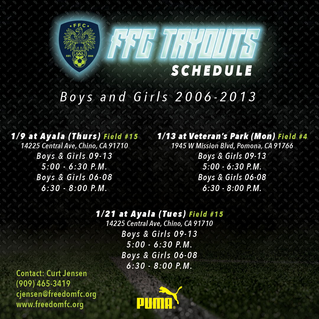 Freedom FC Open for Tryouts of ALL AGES