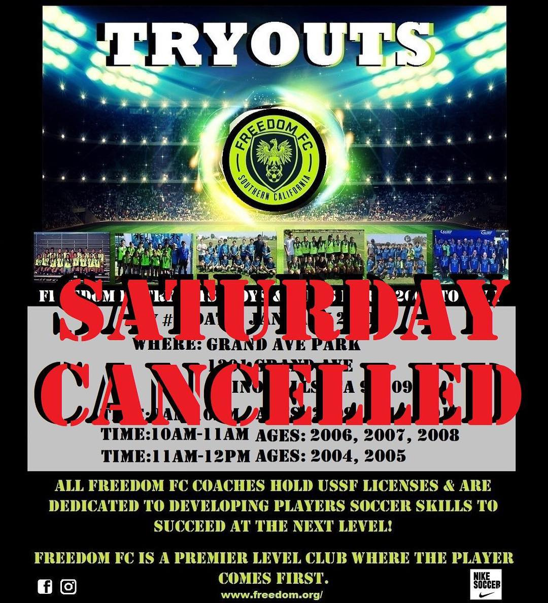 FFC Sat Tryouts Canceled
